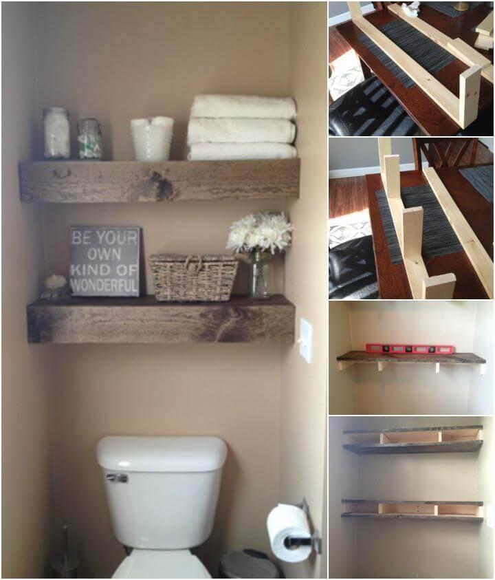 hand-built bathroom floating shelves