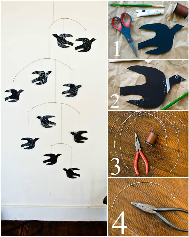 self installed mobile bird wall art