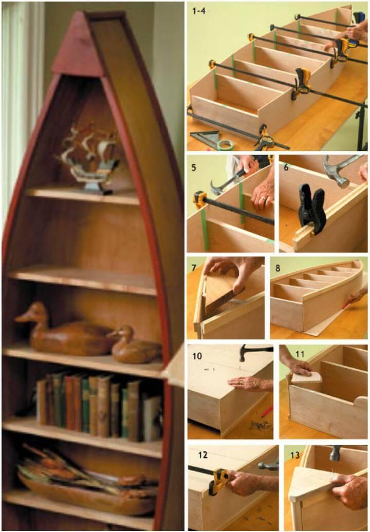 custom-built boat bookshelf