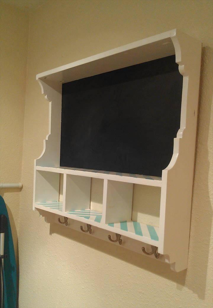 handmade chalkboard cubby shelf