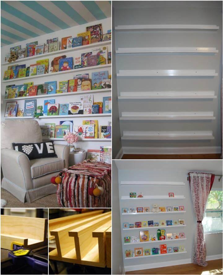 white painted DIY nursery bookshelves