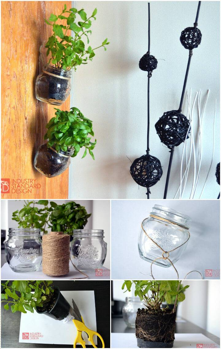 recycled Mason jars as hanging herb pots
