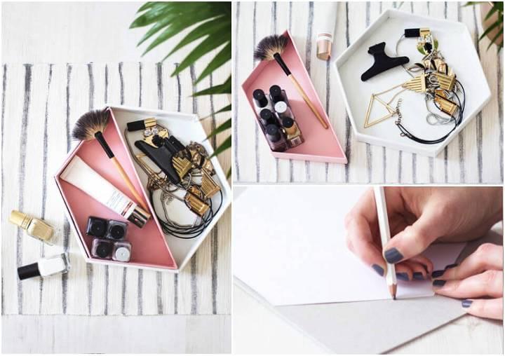DIY leather hexagon jewelry tray