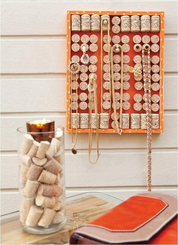 DIY cork necklace holder