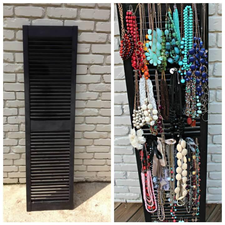 repurposed shutter into jewelry organizer