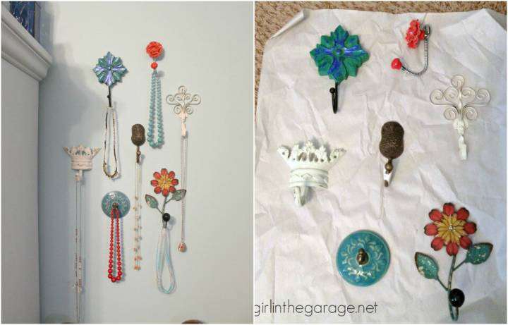 Jewelry organizer solution with decorative wall hooks