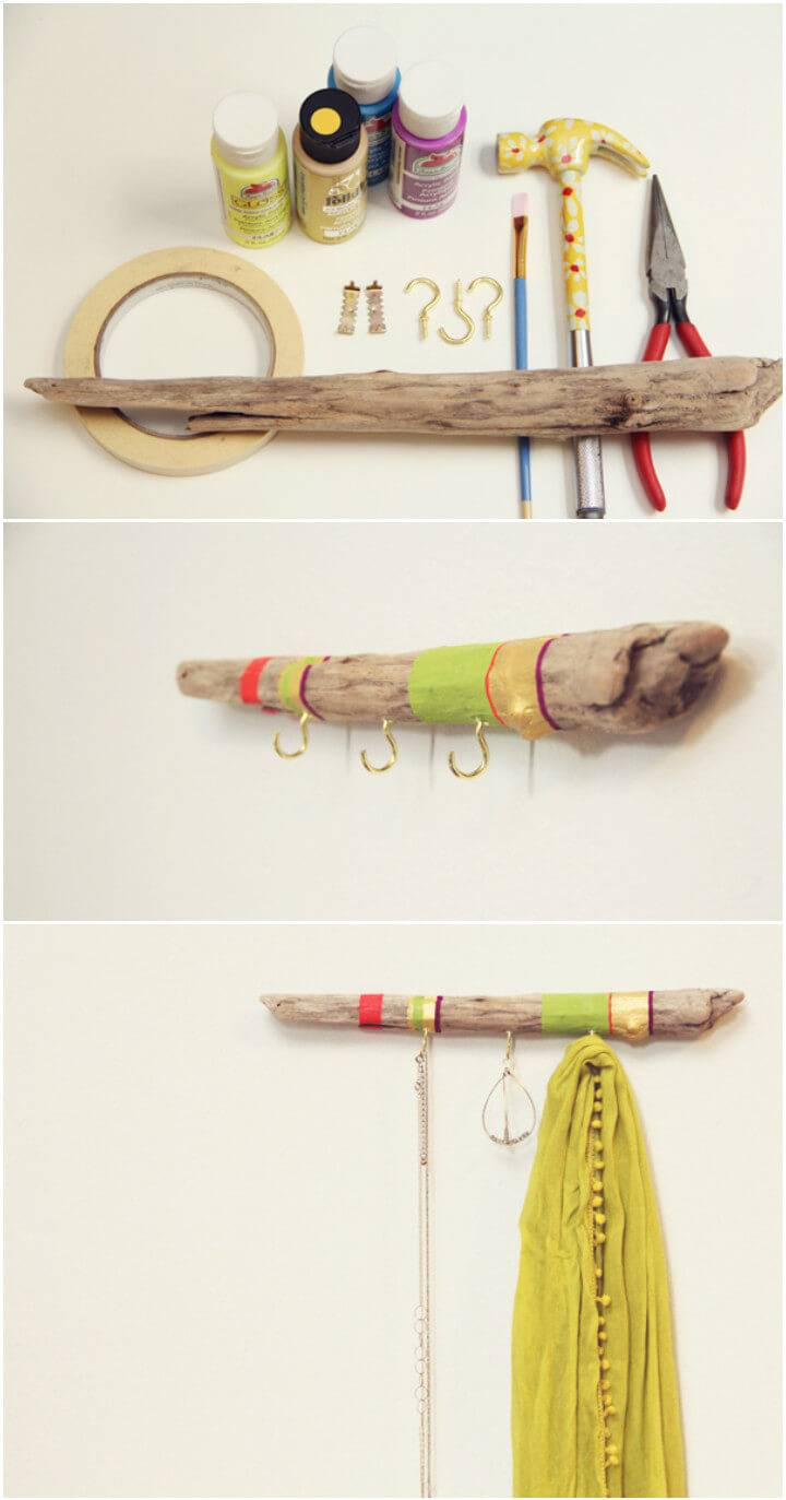 rustic driftwood necklace holder