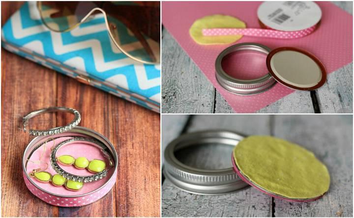 recycled mason jar lid jewelry dish