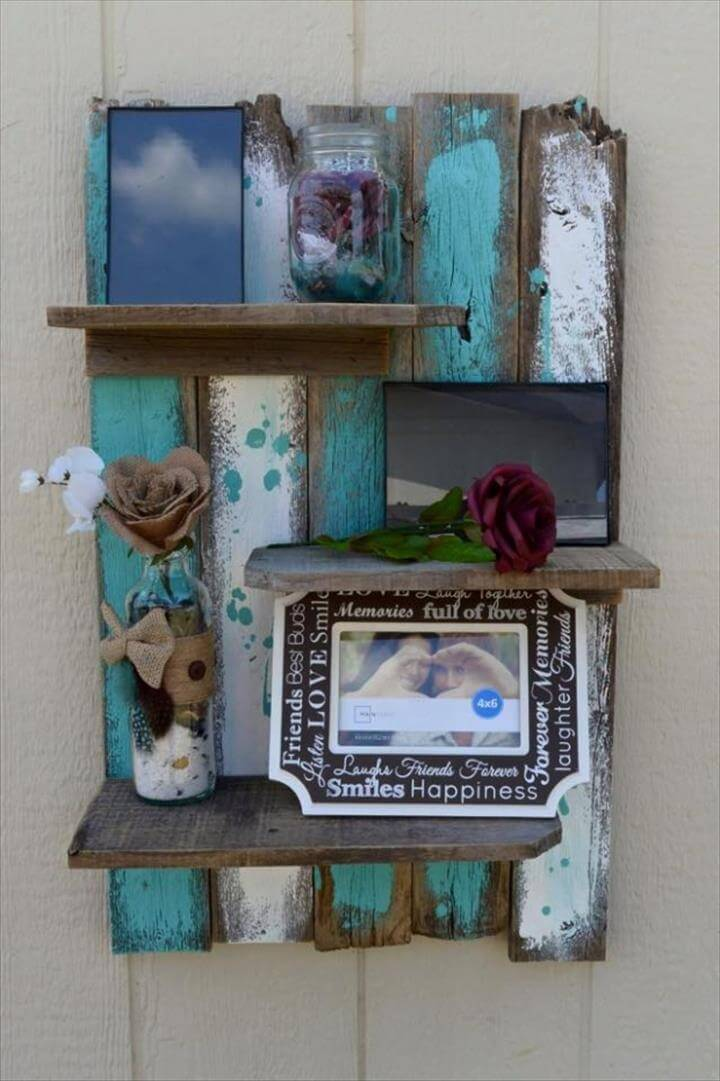 reclaimed rustic pallet display shelf