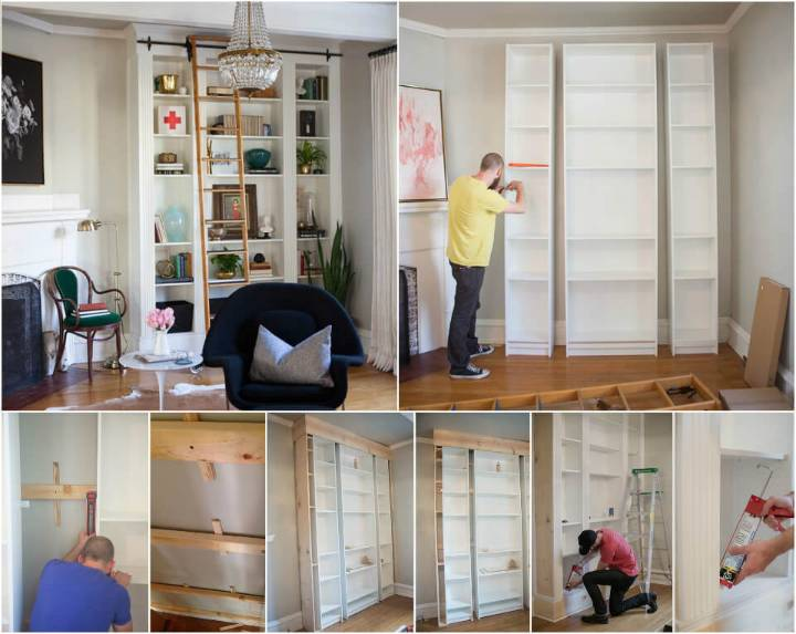 self-installed faux built in living room bookshelves