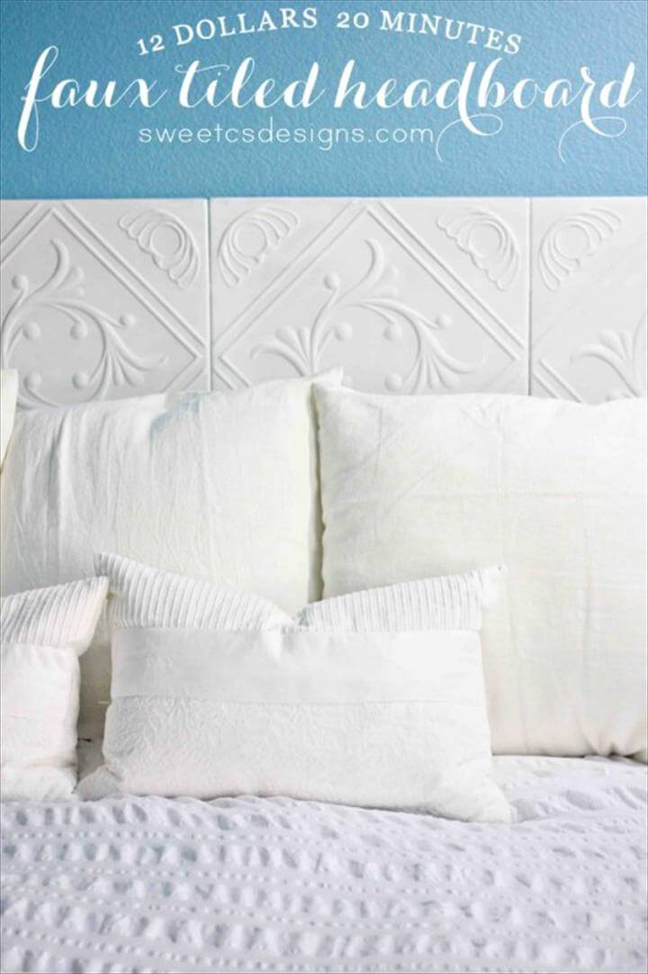 handsome white faux tiled headboard