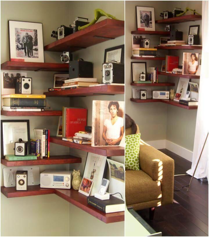 beautiful handmade wooden corner floating shelves