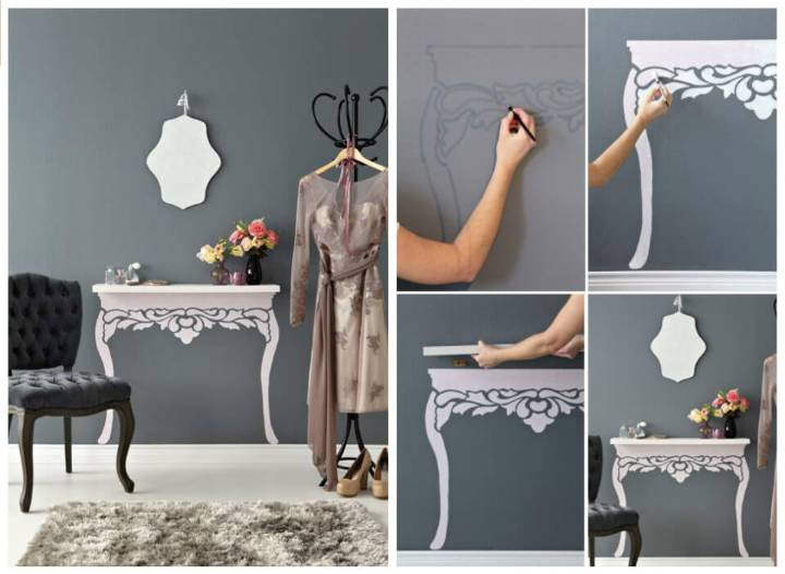 change a floating shelf into a faux vintage table