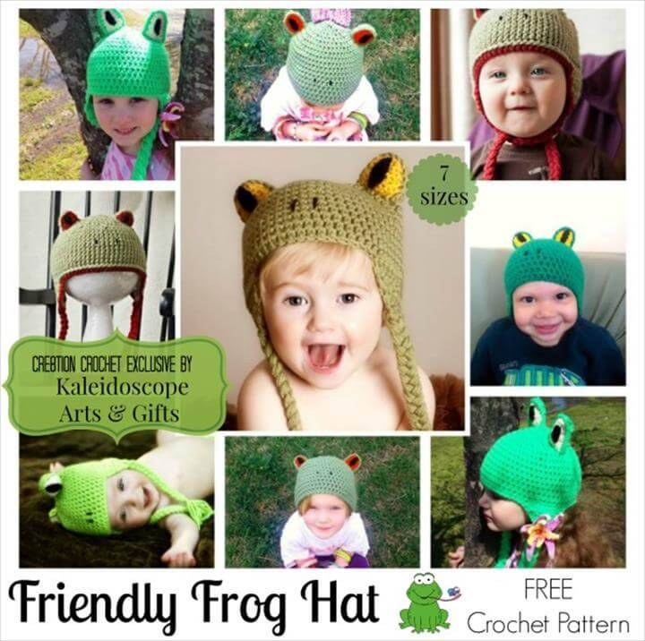 adorable friendly frog crochet baby hat pattern