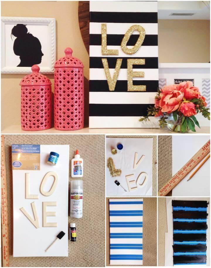 handmade glitter love canvas