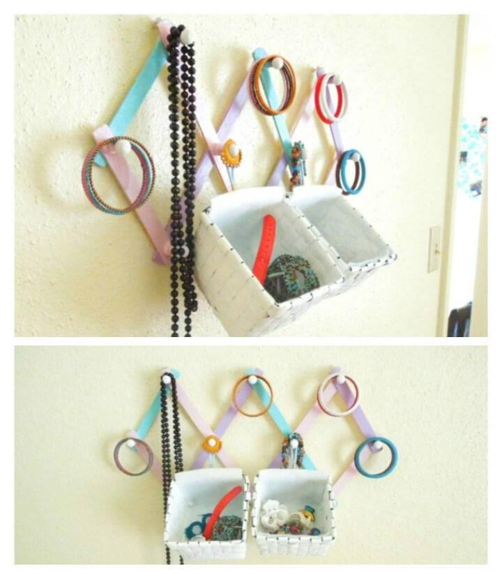 self-made hanging jewelry organizer