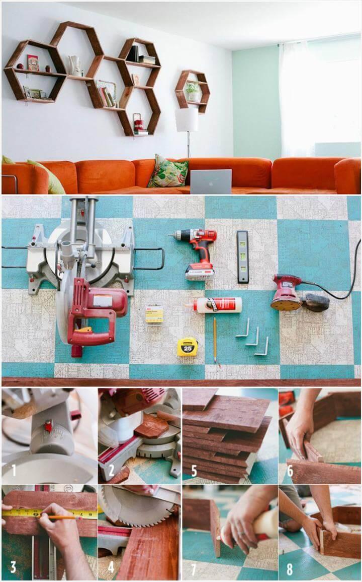 DIY geometrical wall display shelves