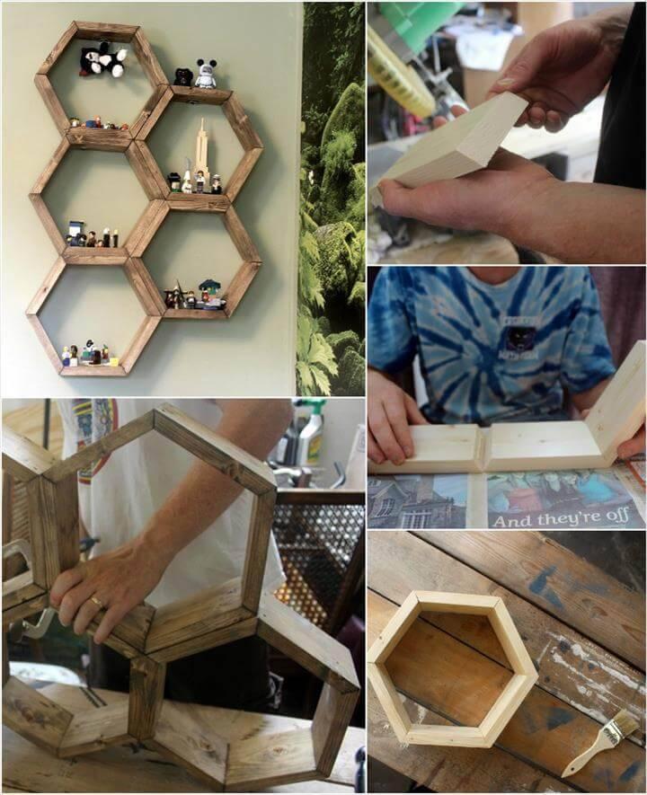 self-made honeycomb wooden hexagonal display wall shelves