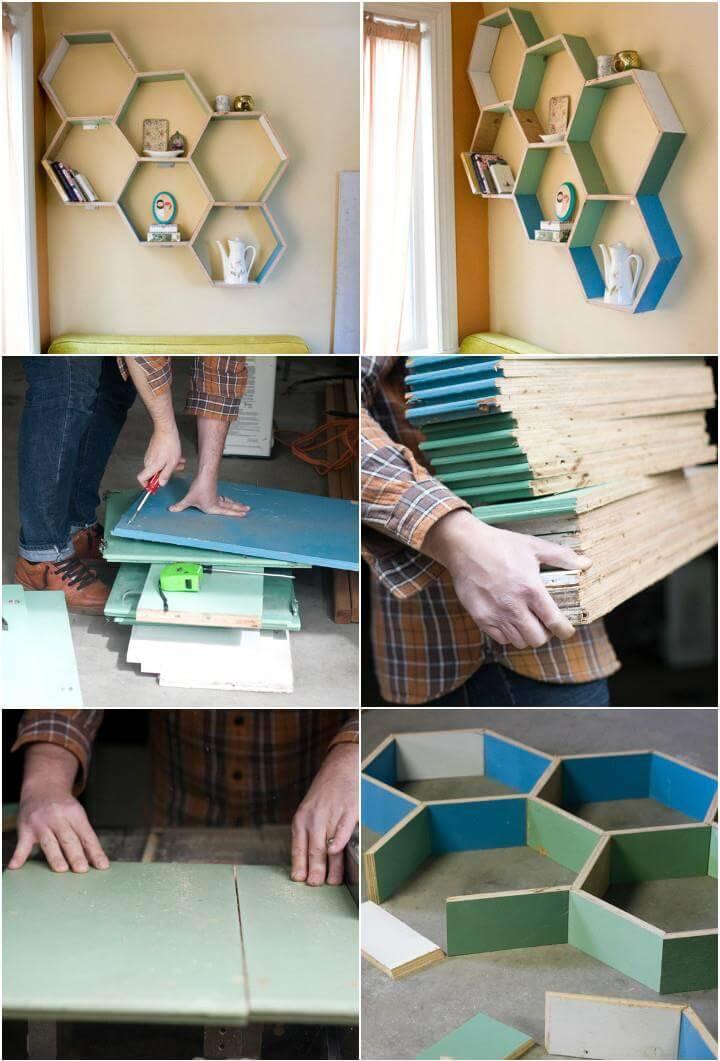 hand-built hexagonal wall shelves