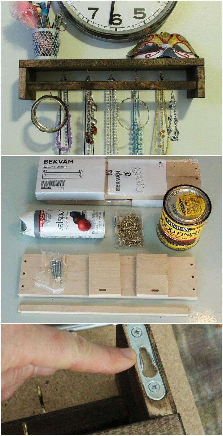 jewelry organizer from a spice rack