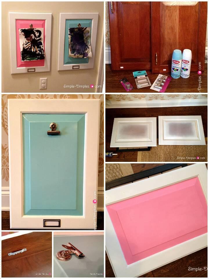 reclaimed cabinet door into kids artwork display frames