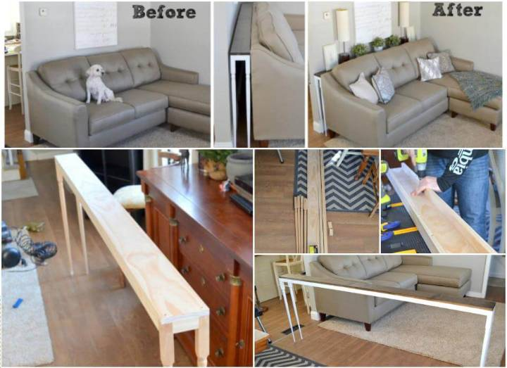 self-installed slim behind sofa table