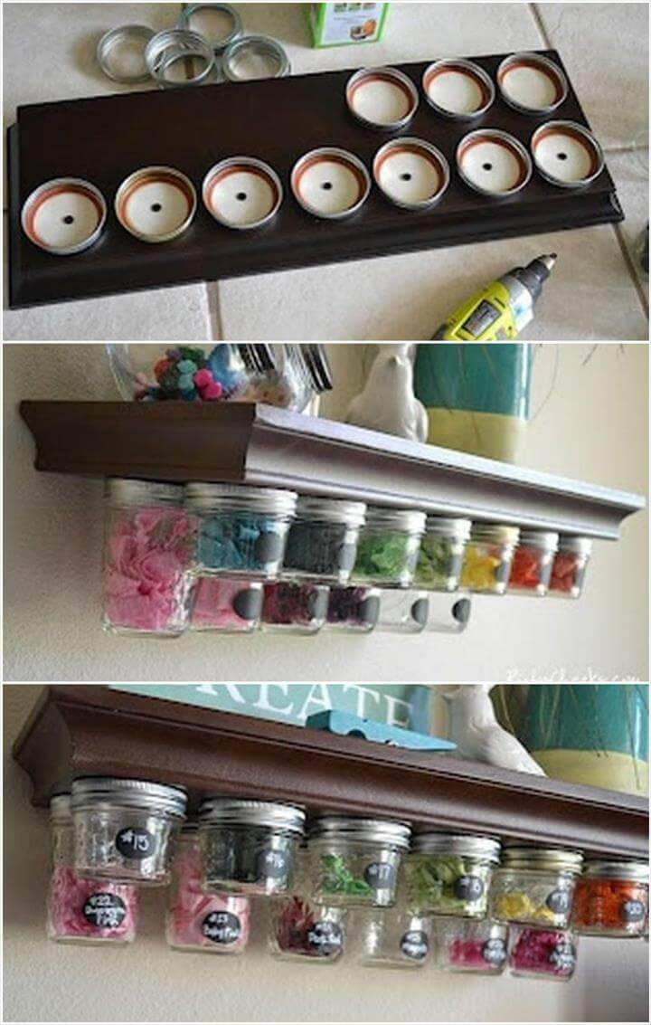 old mason jars into kitchen spice rack