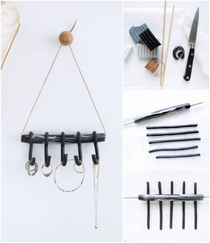 self-installed mini series hooks as jewelry organizer