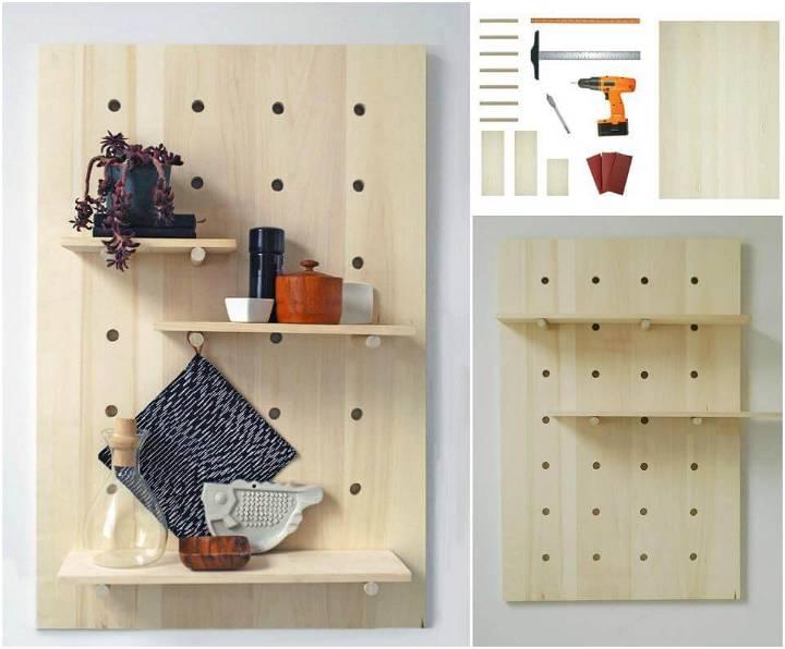 self-installed modern pegboard shelving system