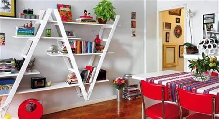 reclaimed ladder wall bookshelving
