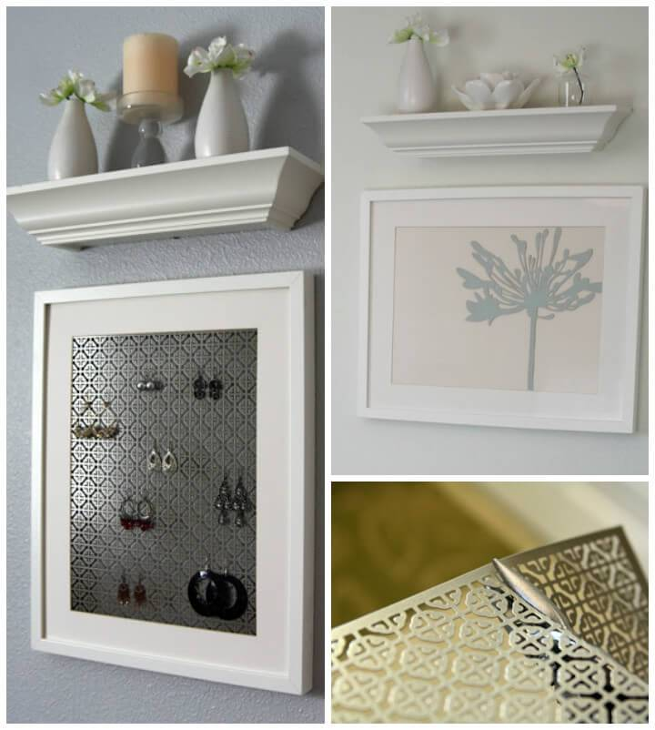upcycled old art frame into earring holder