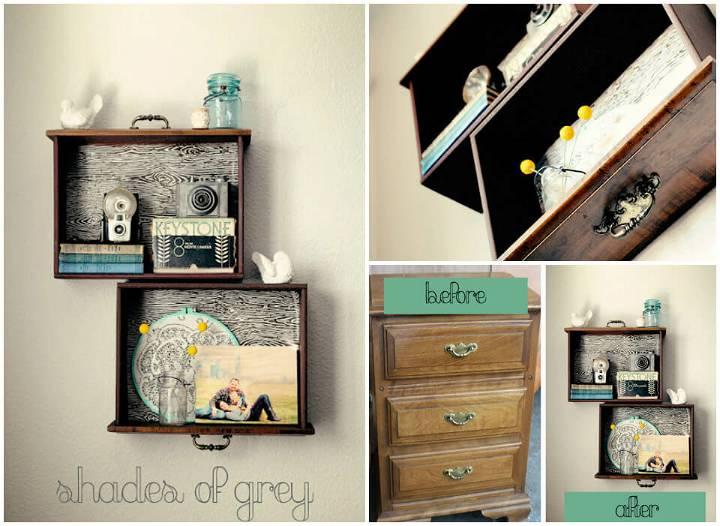 DIY old drawers into wall display shelves