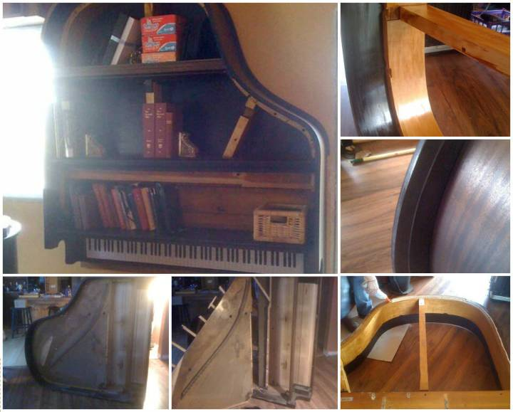 repurposed old piano wall hanging bookshelf
