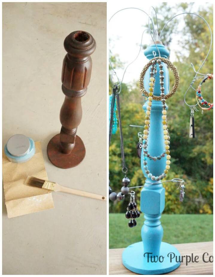 old staircase spindle into beautiful jewelry organizer