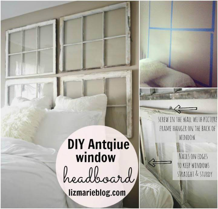 DIY old windows into headboard