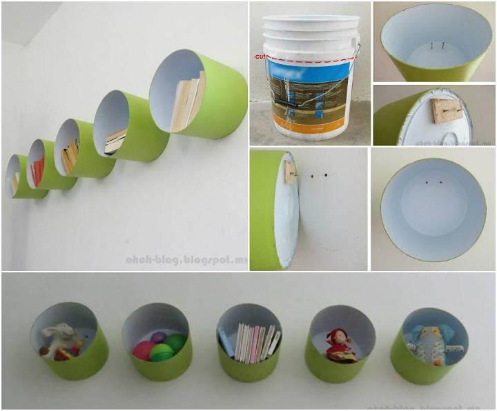 handmade paint bucket wall shelves