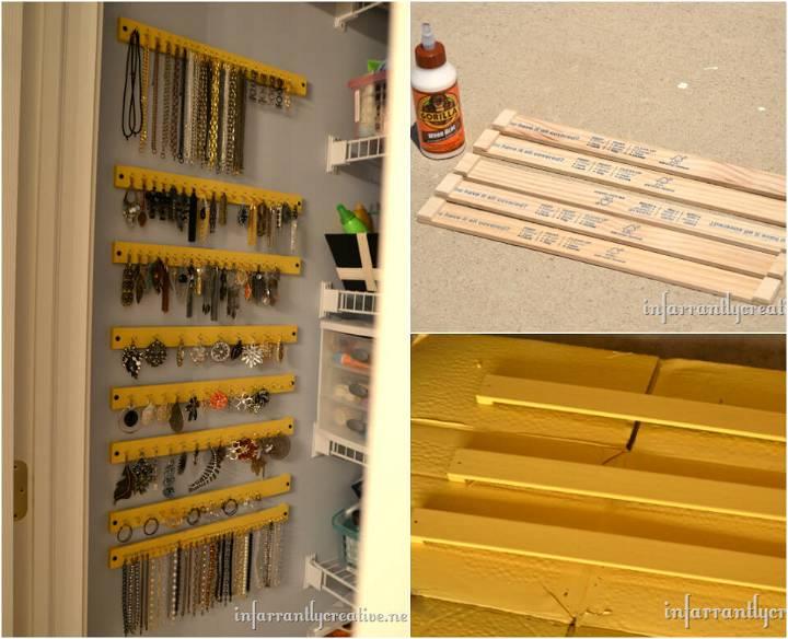 hand-built paint sticks jewelry organizer