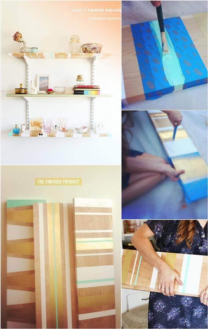 handmade painted wooden wall shelves