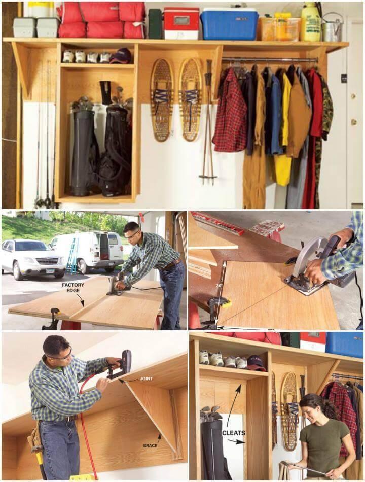 repurposed pallet garage shelves