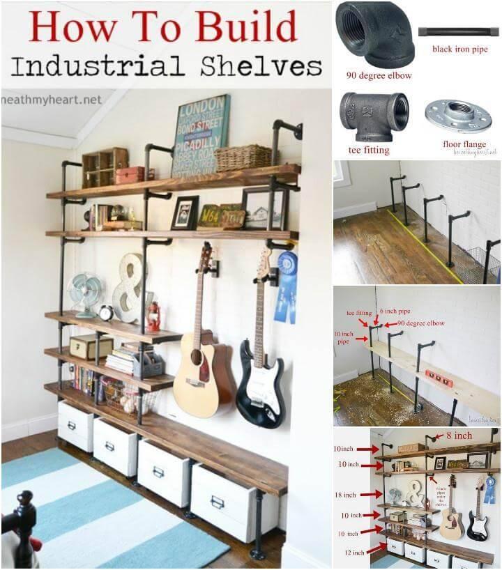 wood and metal pipe industrial shelves