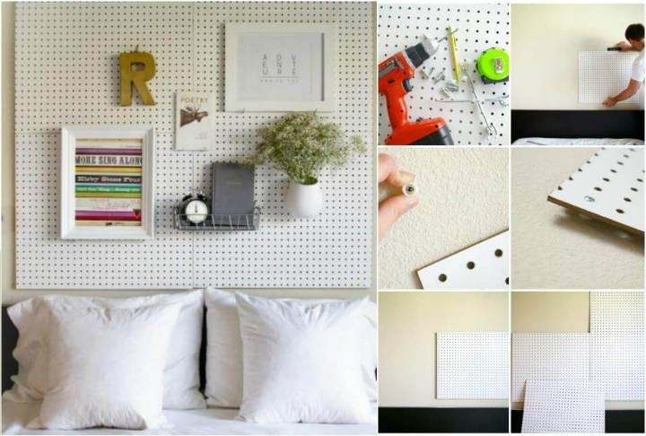 beautiful pegboard headboard
