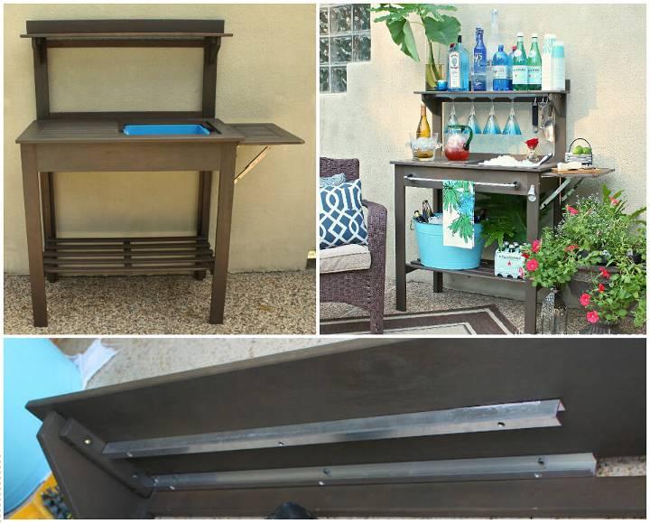 upcycled old potting bench bar