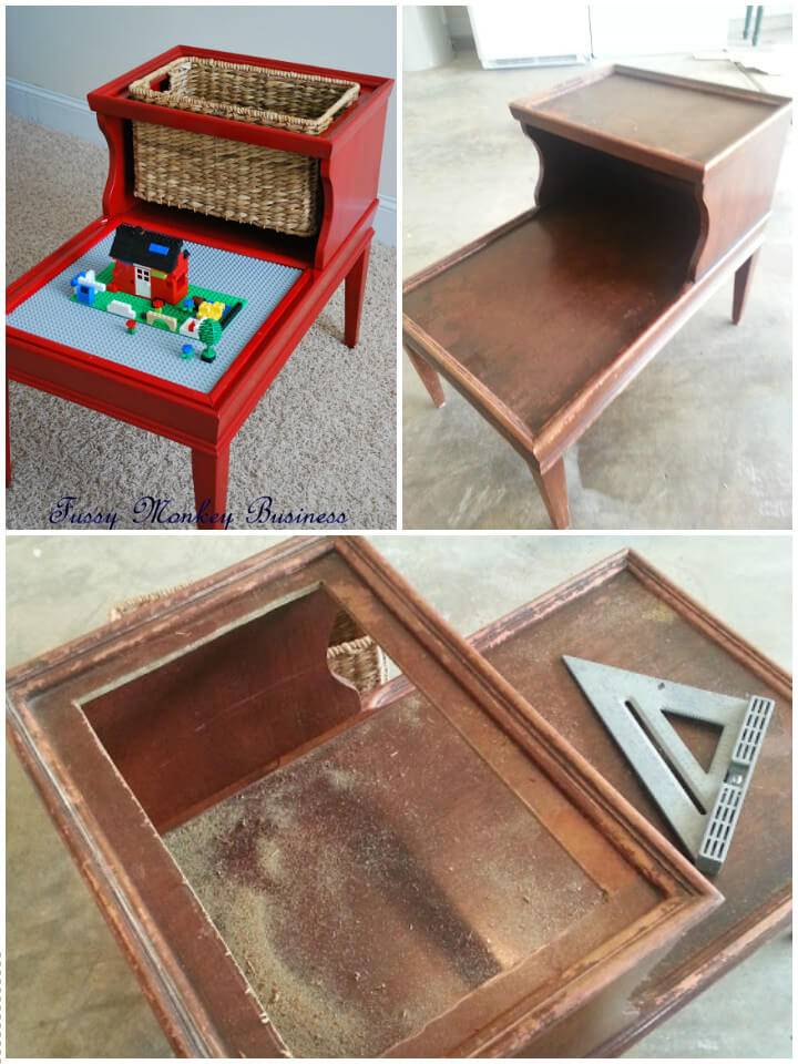 upcycled old table into kids lego table