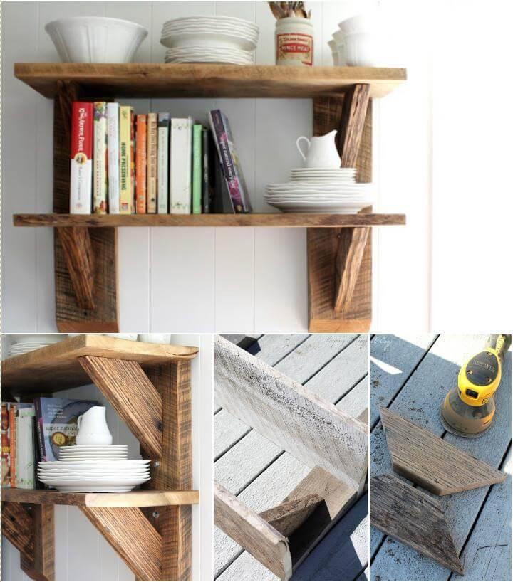 handcrafted wooden kitchen shelves