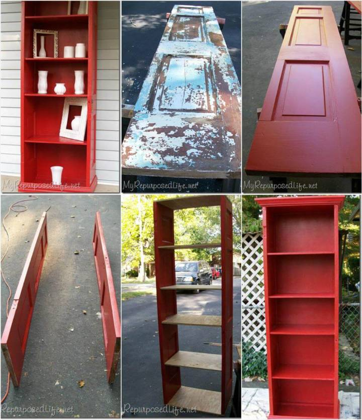 reclaimed old door into bookshelf
