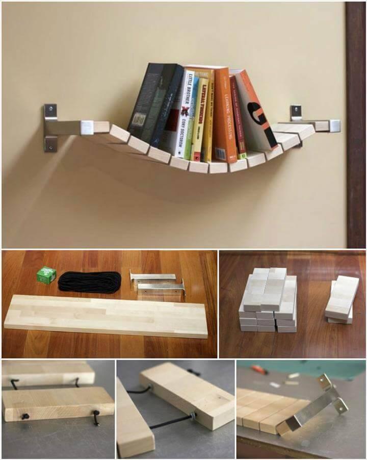 repurpose wood and string bridge bookshelf