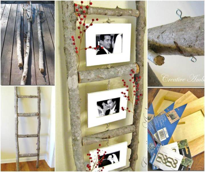 repurposed wood log photo ladder