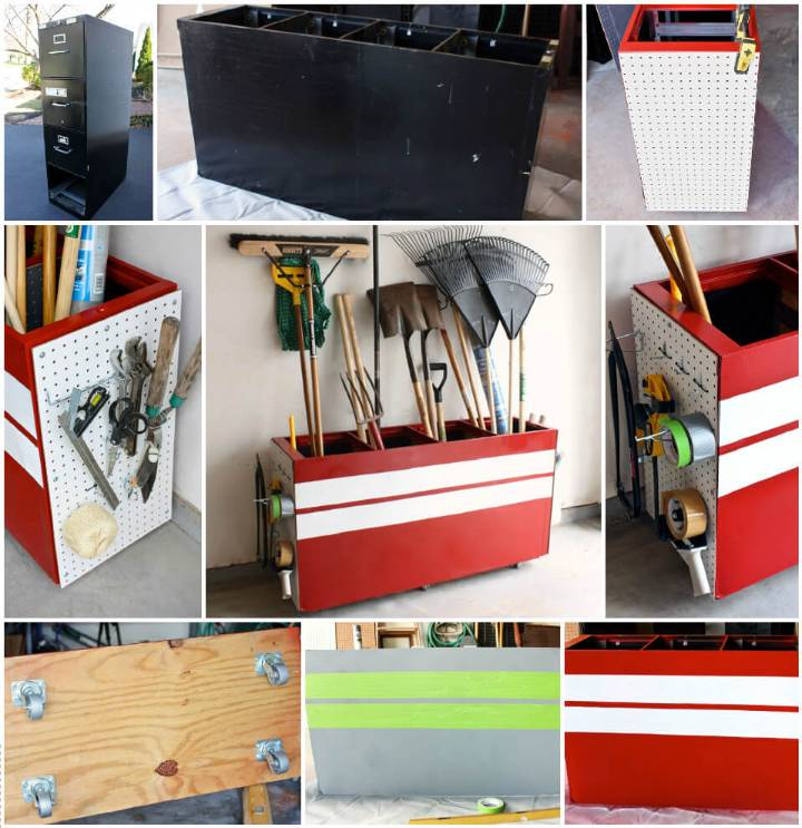 smart garage tool rack made of an old file cabinet