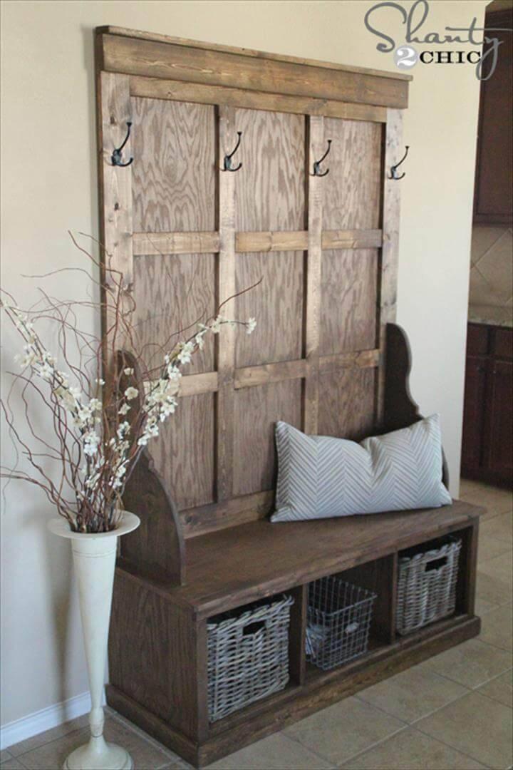 handmade wooden hall tree