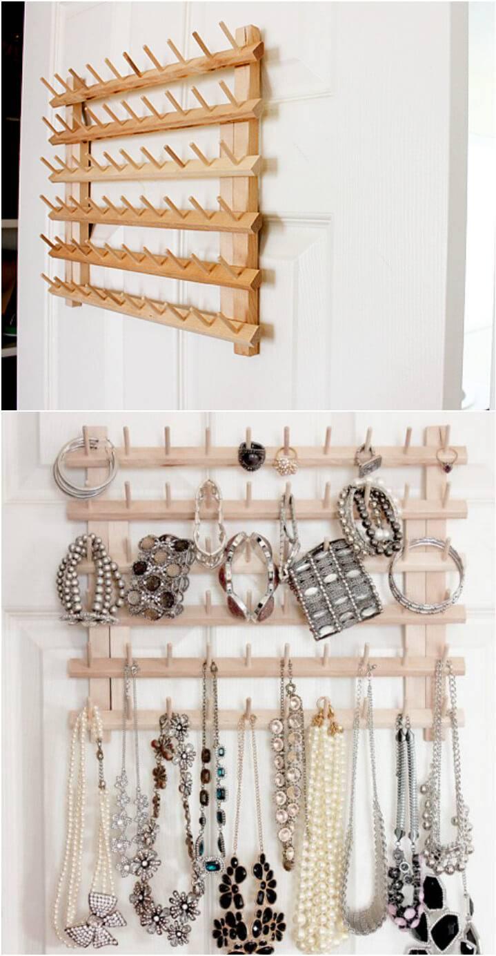 upcycled thread rack jewelry organizer